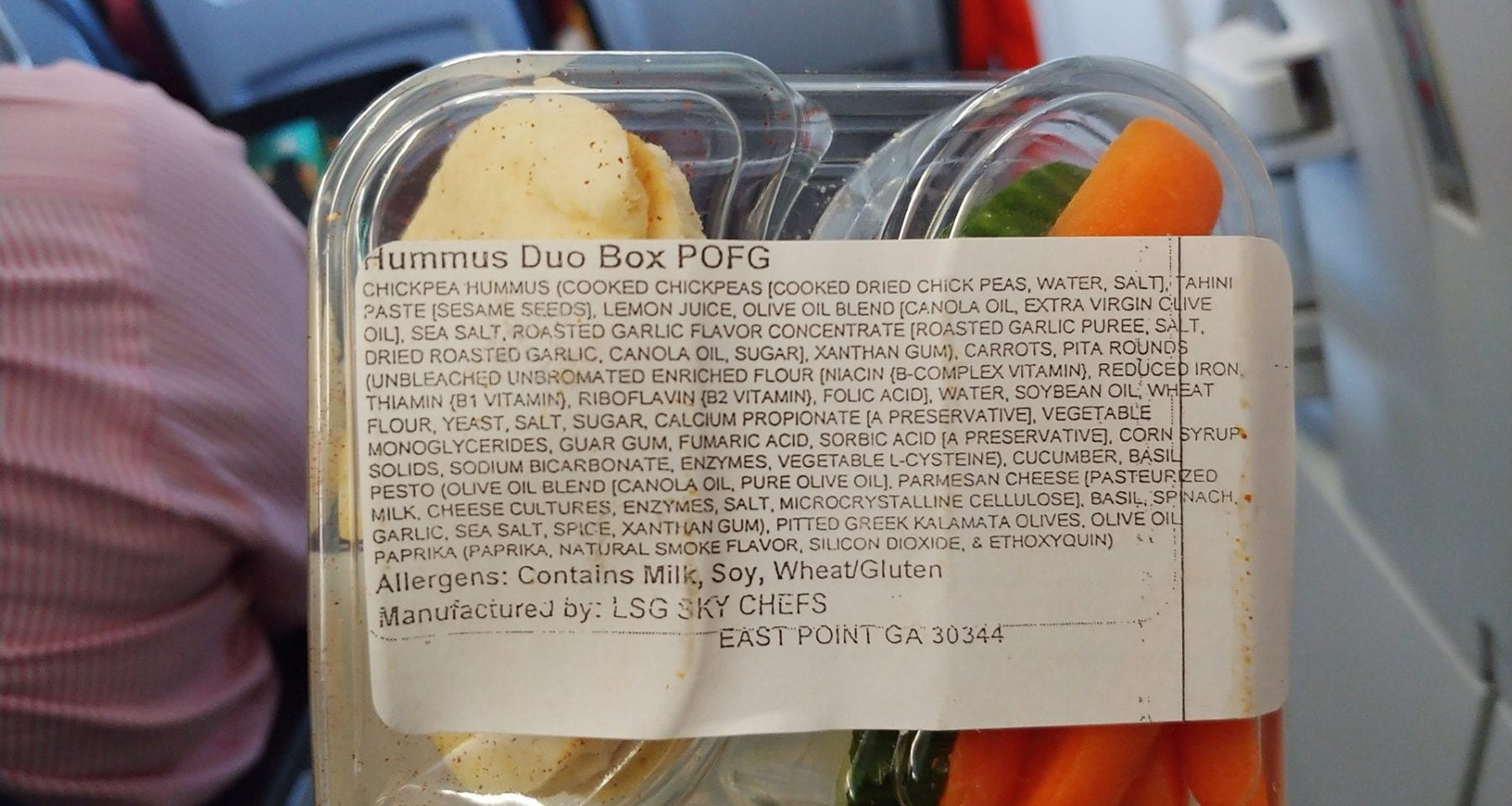 American airlines meal ingredients