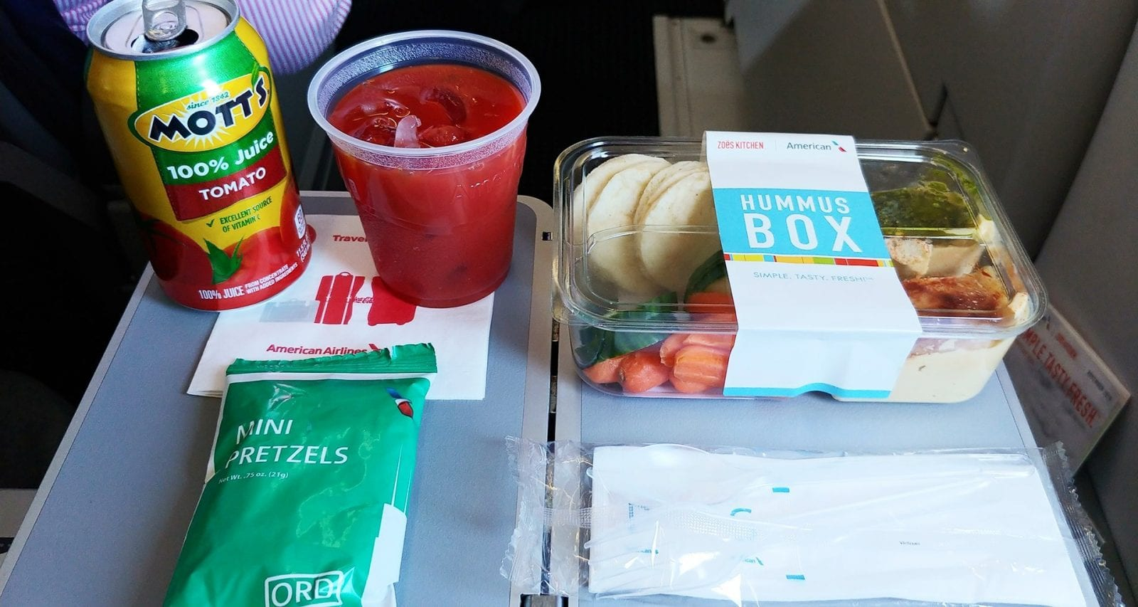 American Airlines hummus box meal