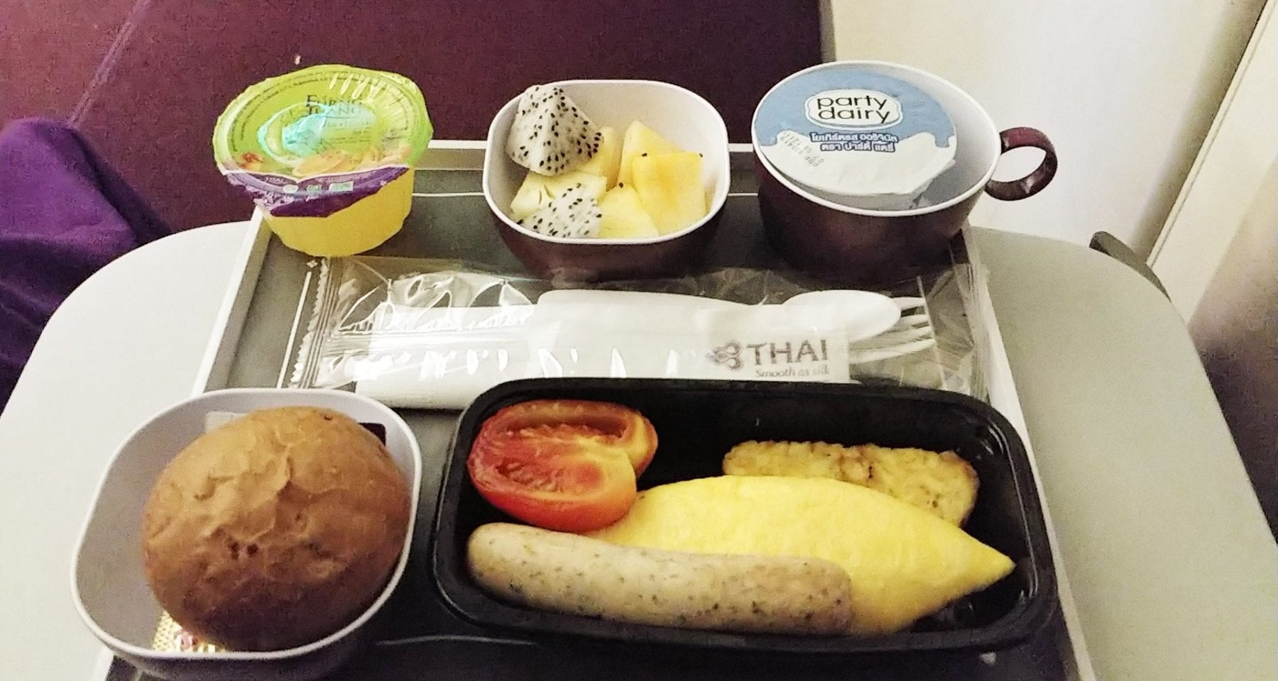 Thai Airways economy class breakfast Bangkok to Zurich