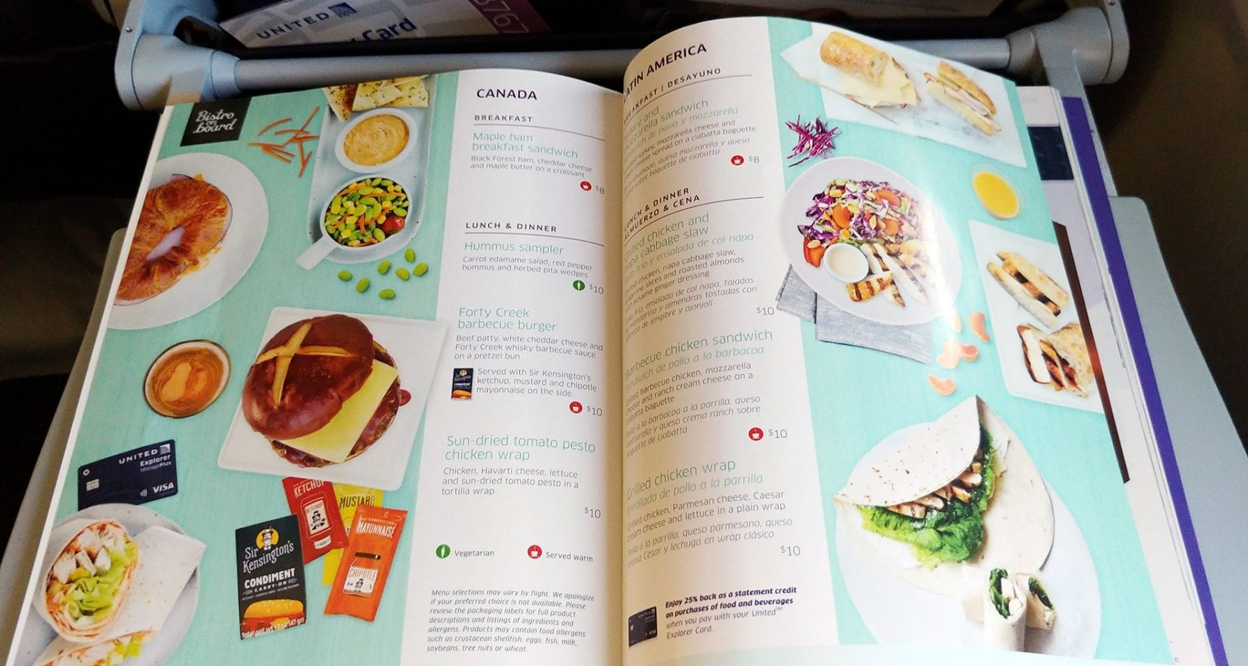 United Airlines Bistro On Board Menu