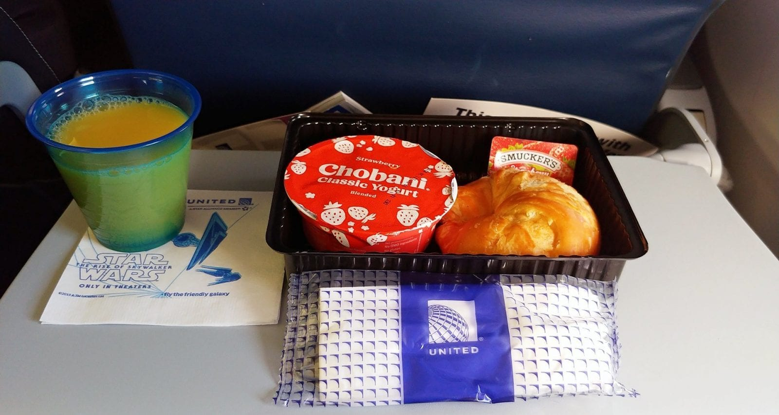 United Airlines economy class breakfast prior to arrival