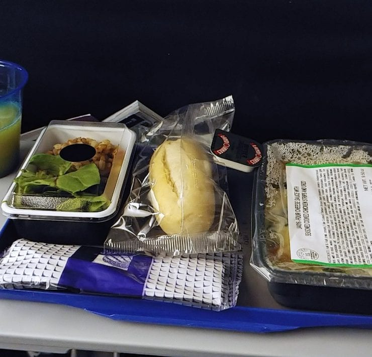 United Airlines Economy Class Dinner