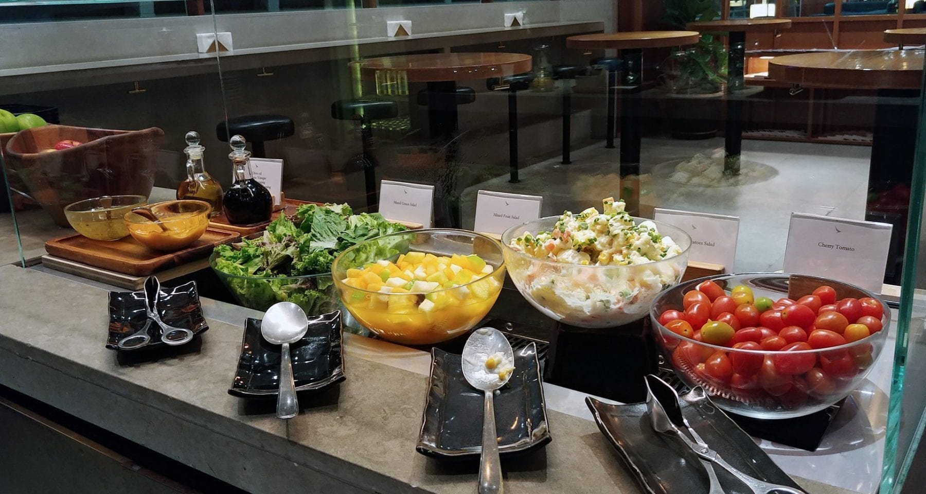Cathay Pacific Lounge salad bar