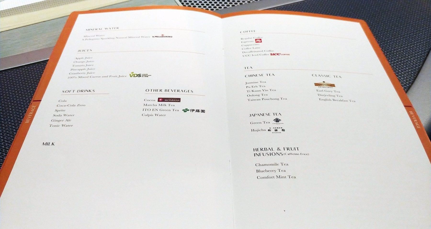 Eva air inflight drink menu bangkok to taipei