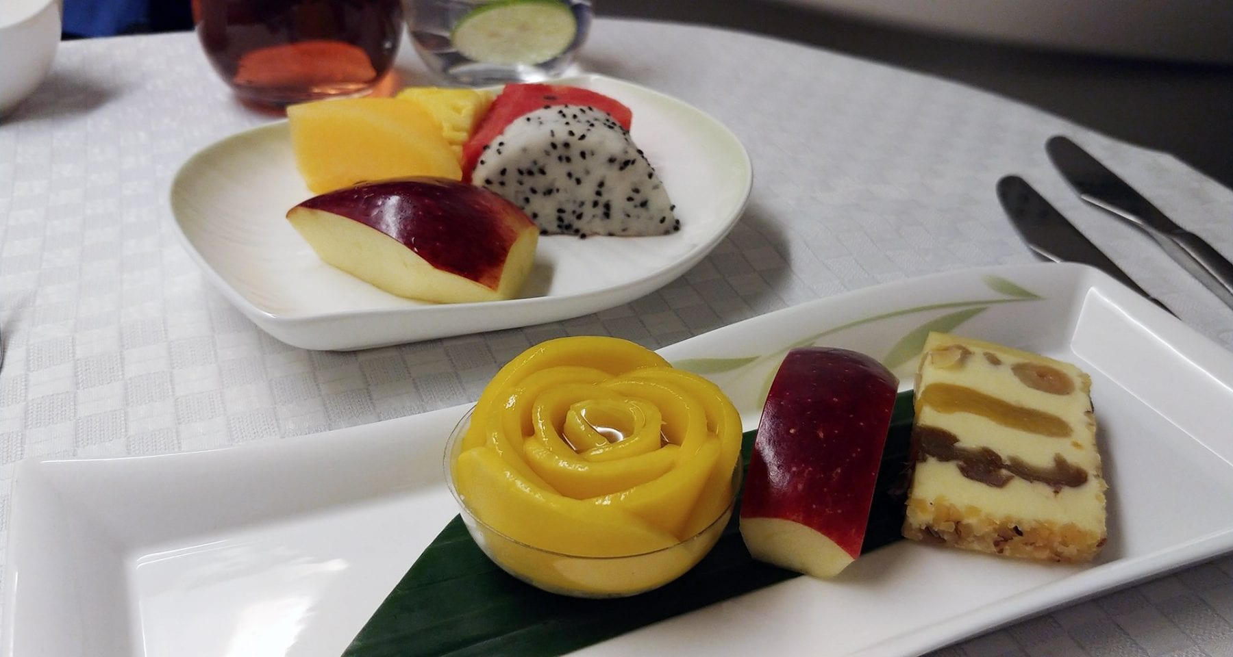 Eva Air business class dessert