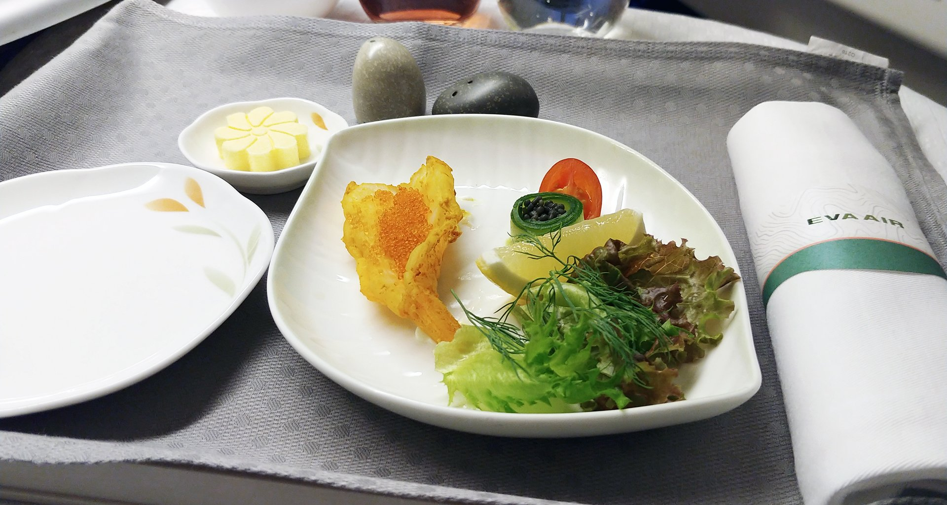 Eva Air prawn starter business class meal