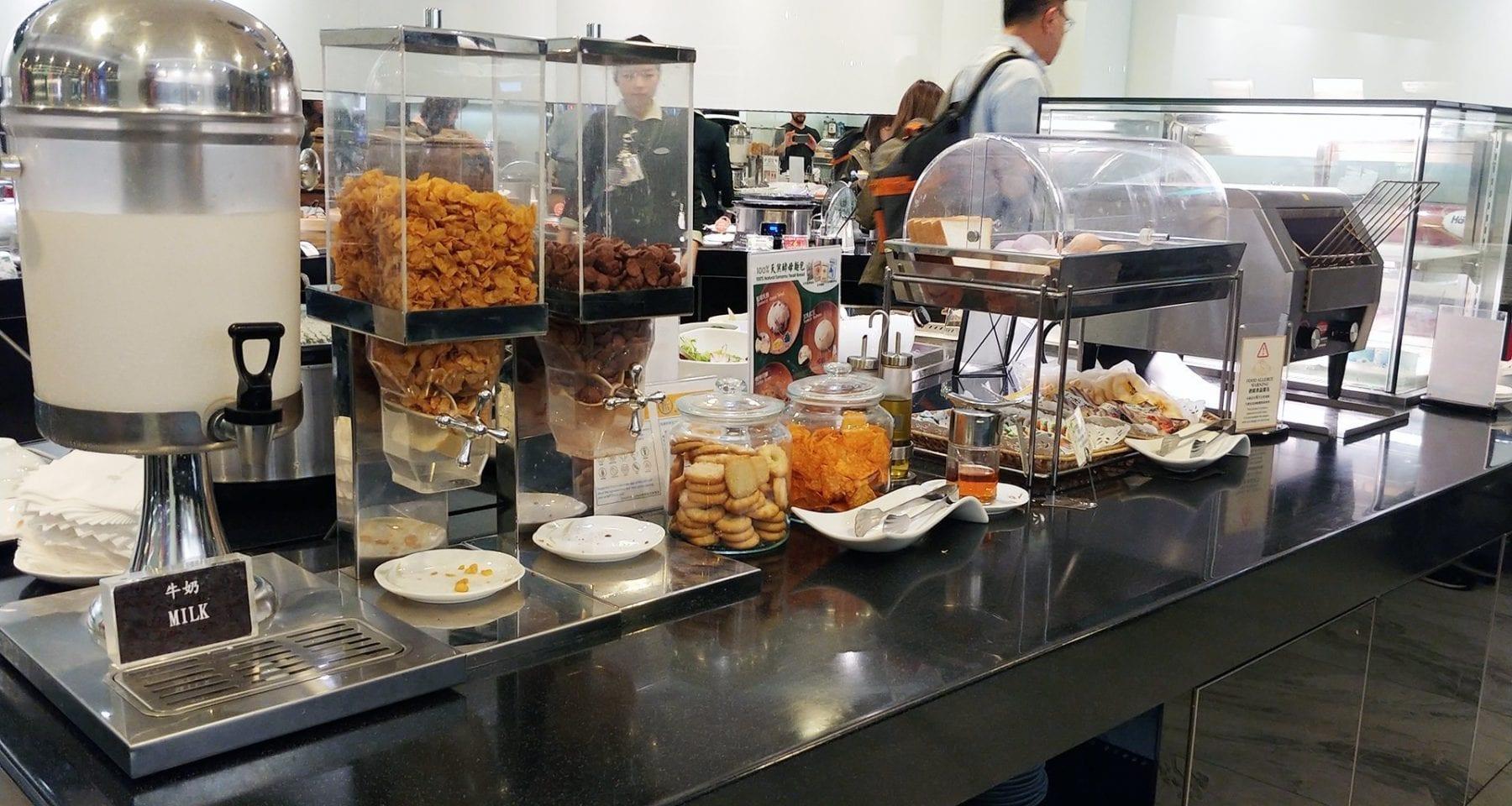 Eva Air Taipei Lounge breakfast offering