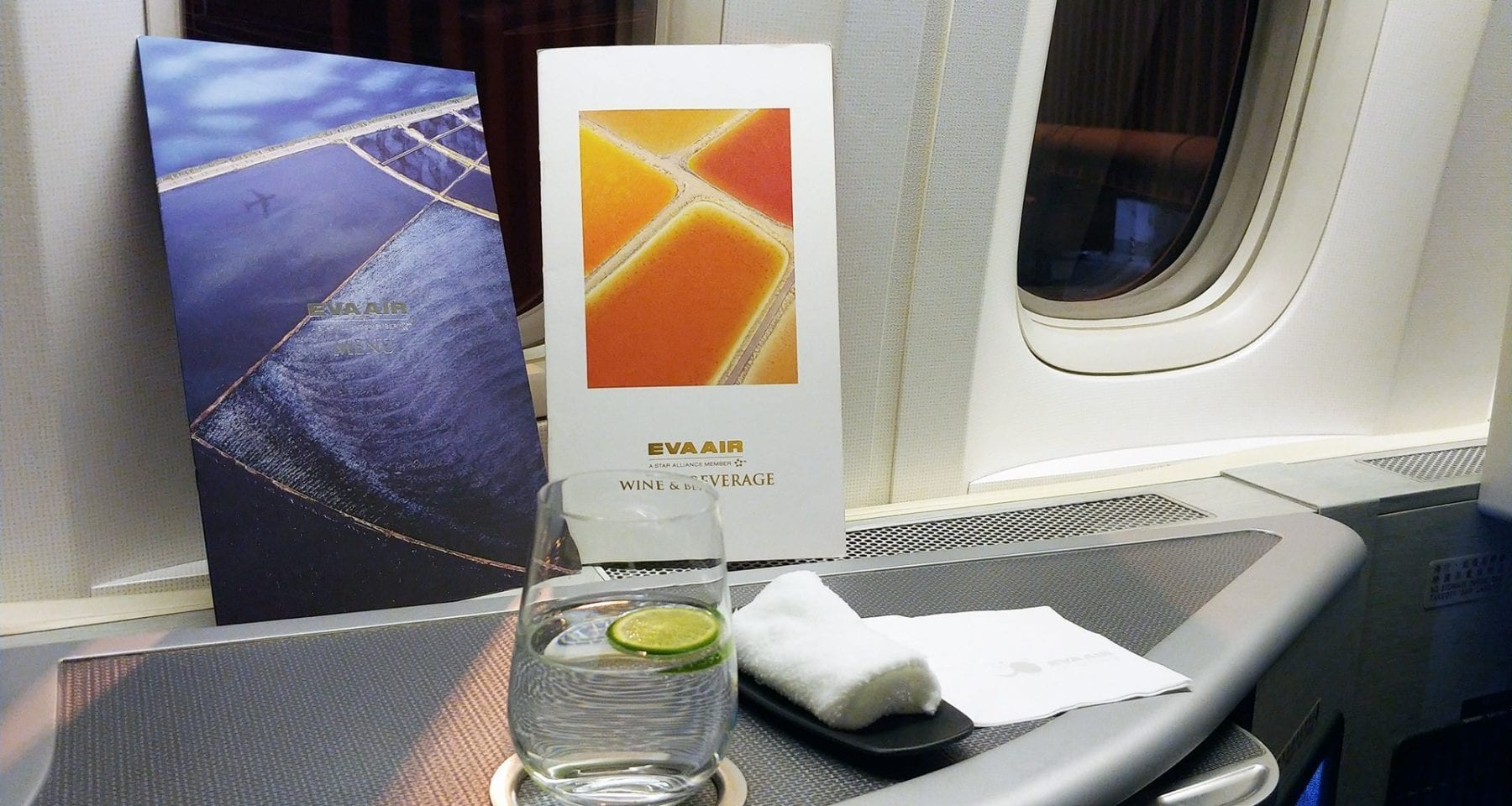 Eva Air welcome drink, hot towel and inflight menu business class