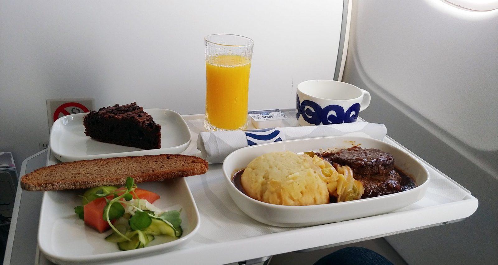 Finnair meal tray business class