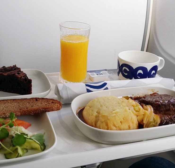 Finnair meal tray business class