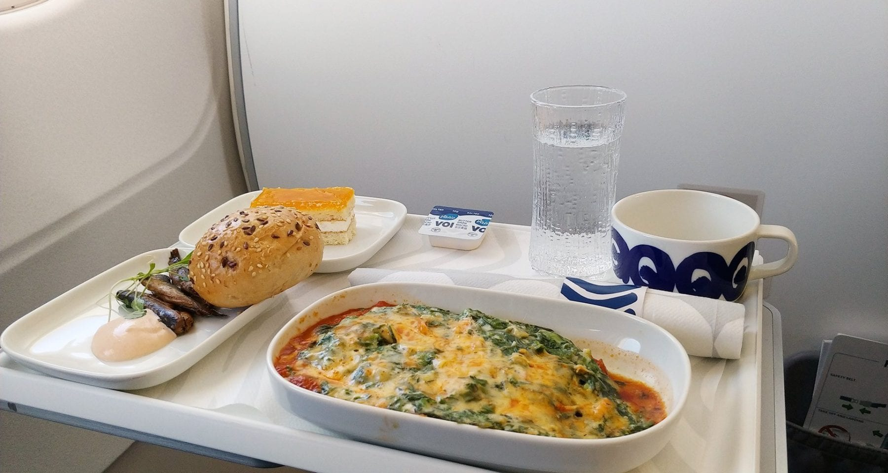 Finnair business class meal offering intra Europe