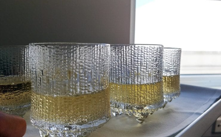 Finnair business class glassware