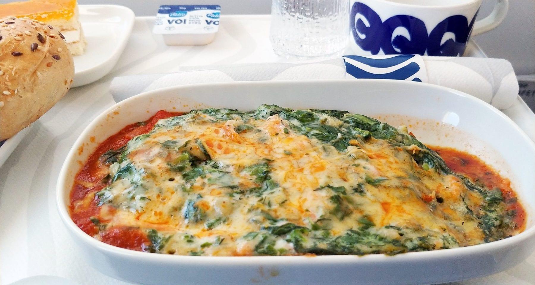 Finnair business class hot meal