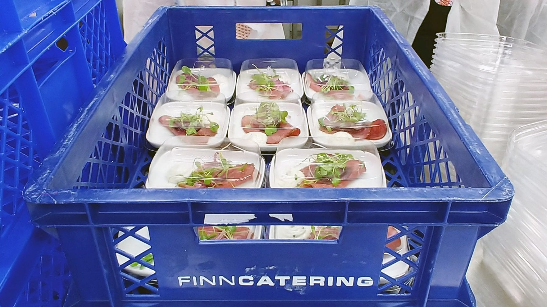 Finnair Catering Helsinki meal preparation for business class