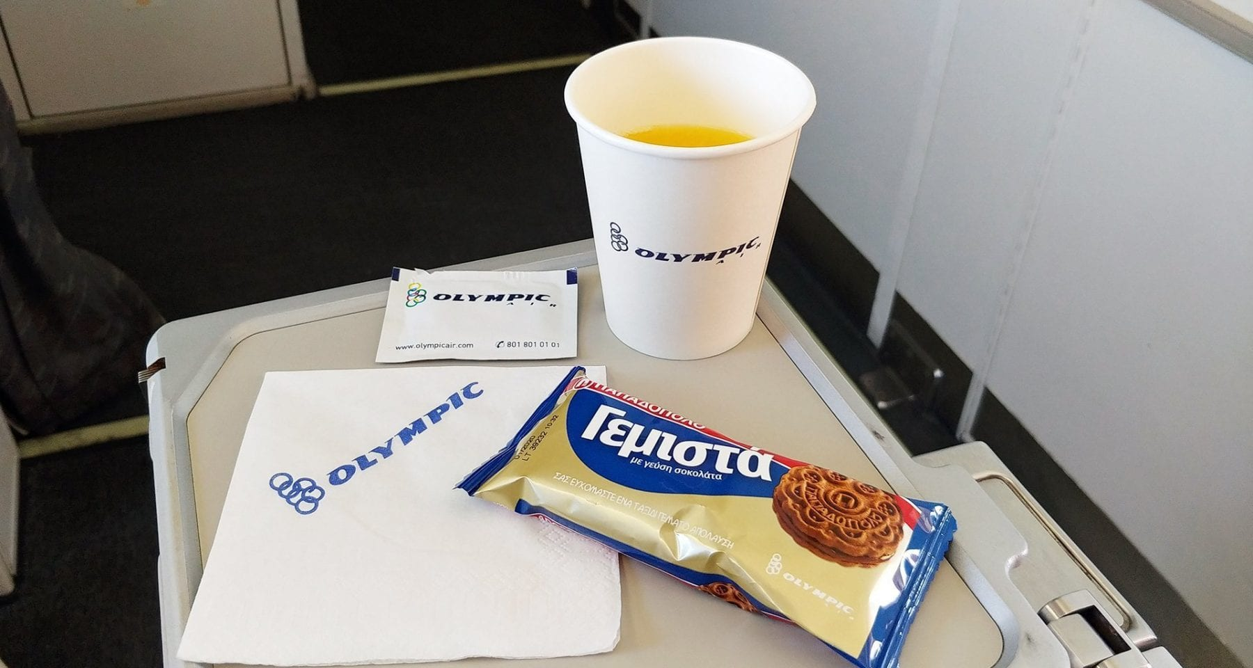 Aegean/Olympic Air airlines domestic flight snack