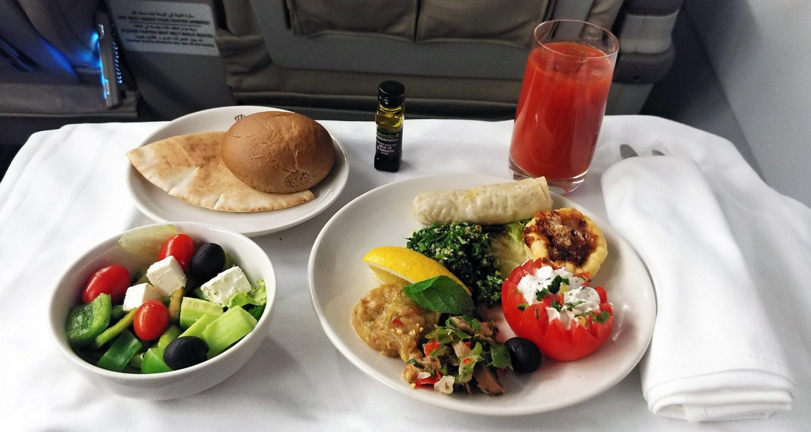 Royal Jordanian business class meal Cairo to Amman