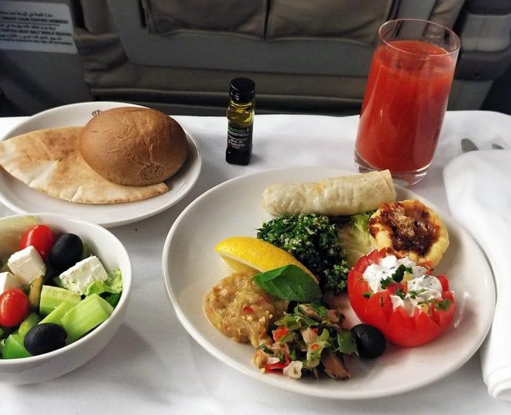 Royal Jordanian business class meal Cairo to Amman