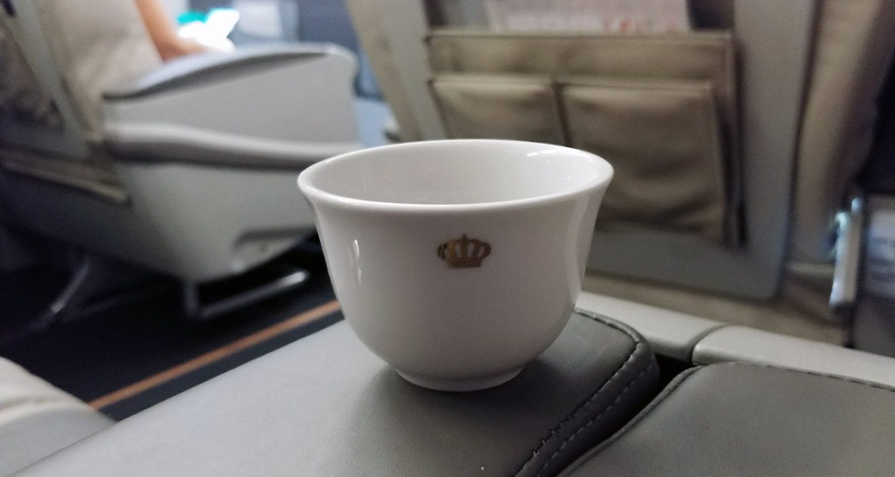 Royal Jordanian business class welcome coffee