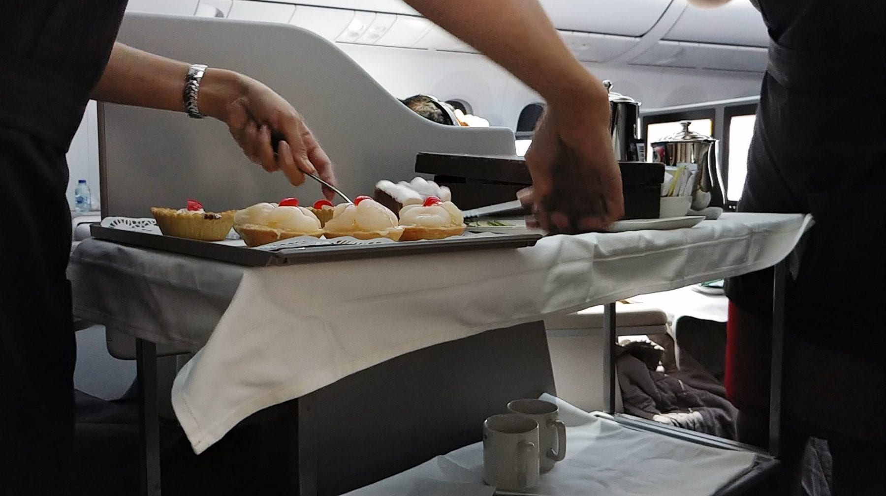 Royal Jordanian business class dessert trolley