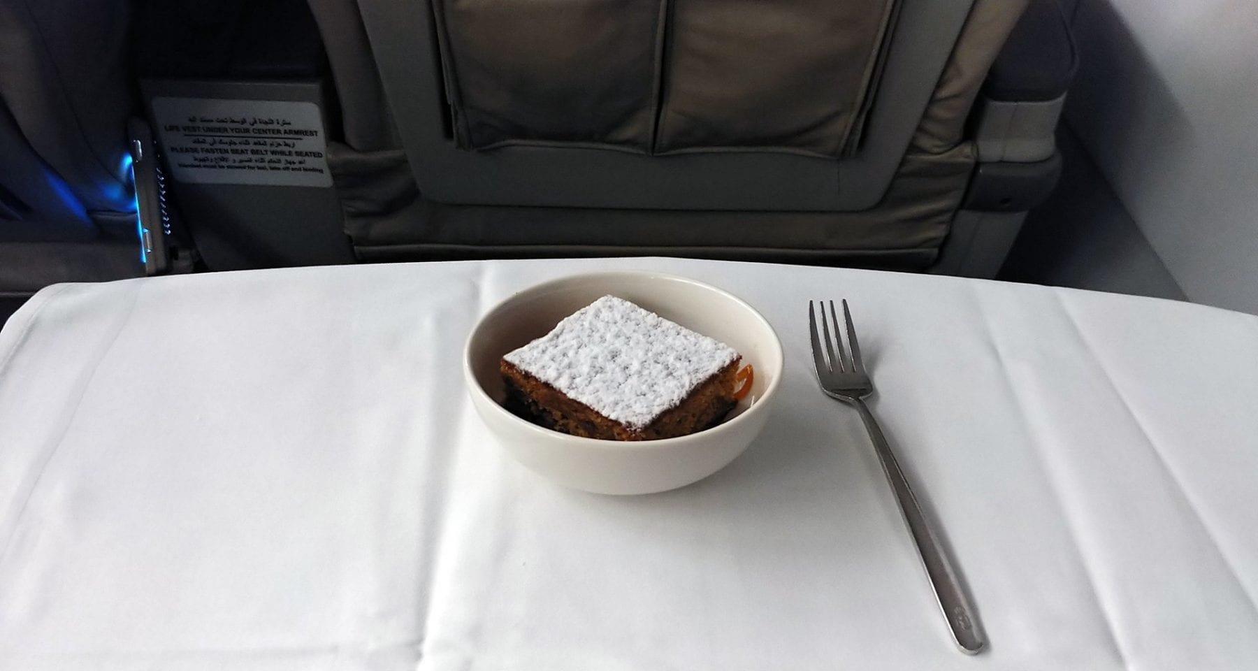 Royal Jordanian business class dessert short haul