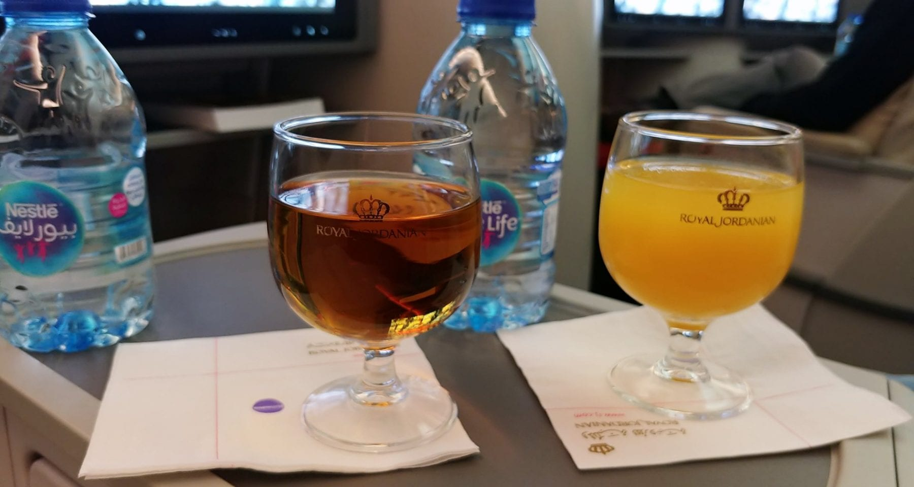 Royal Jordanian business class drinks