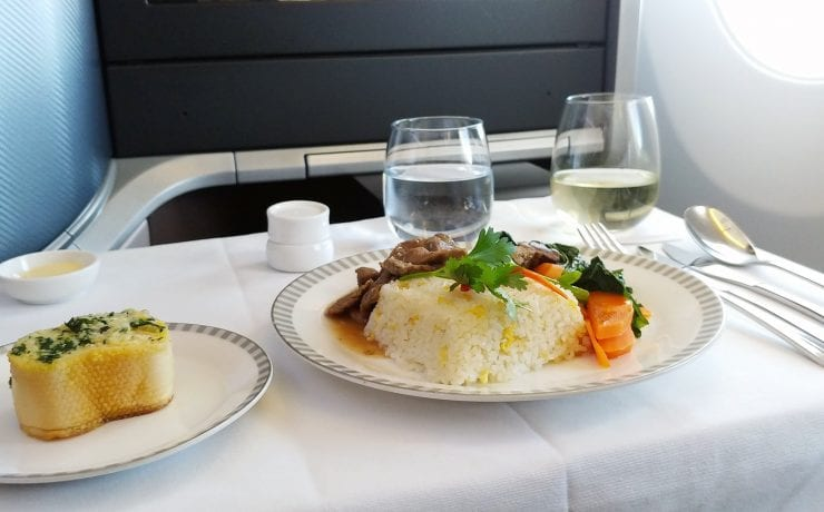 Singapore Airlines main meal business class
