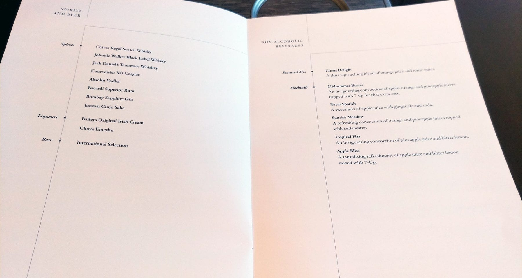 Singapore Airlines Business Class wines and drinks menu