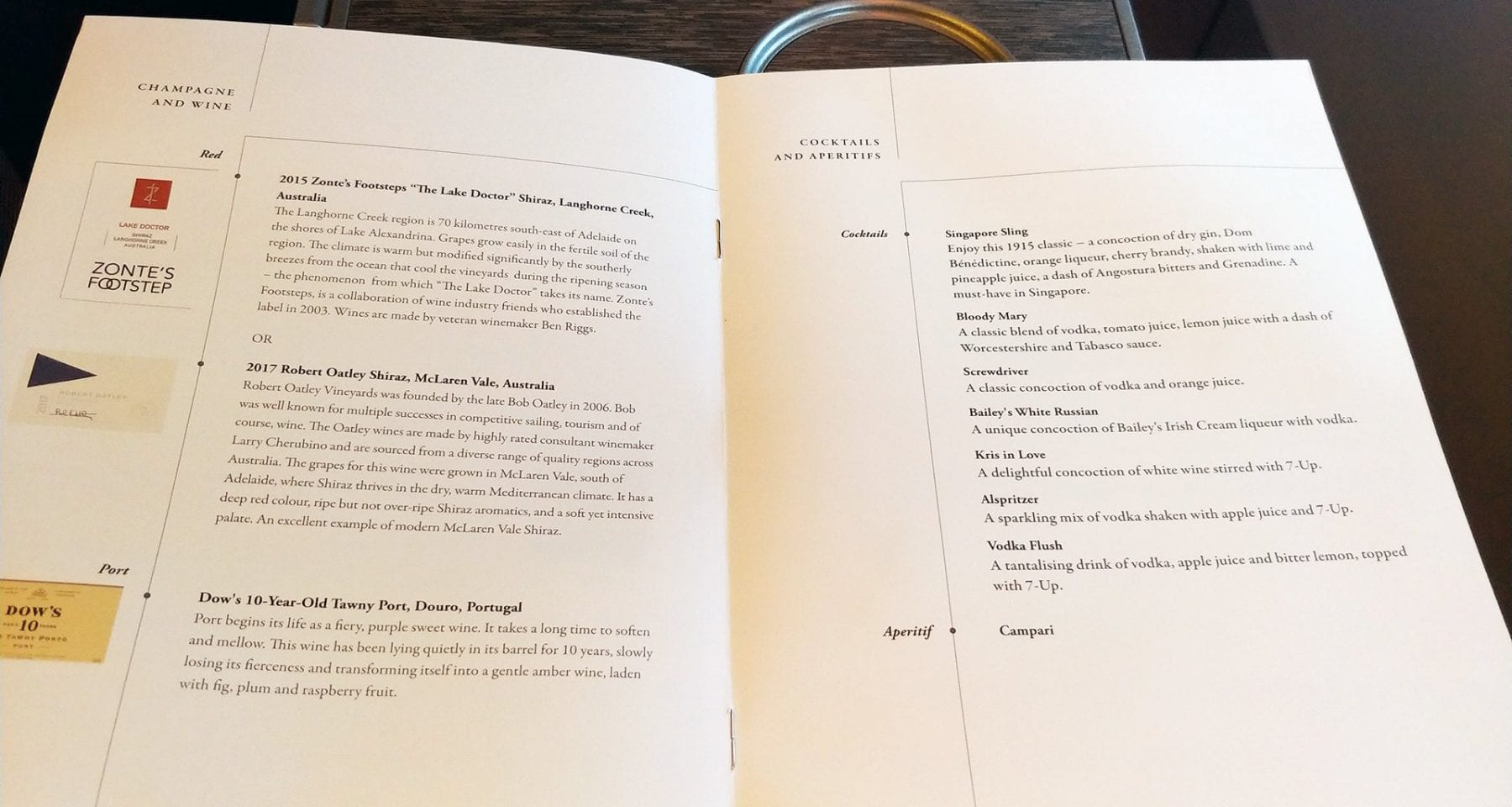 Singapore Airlines Inflight Wine Menu