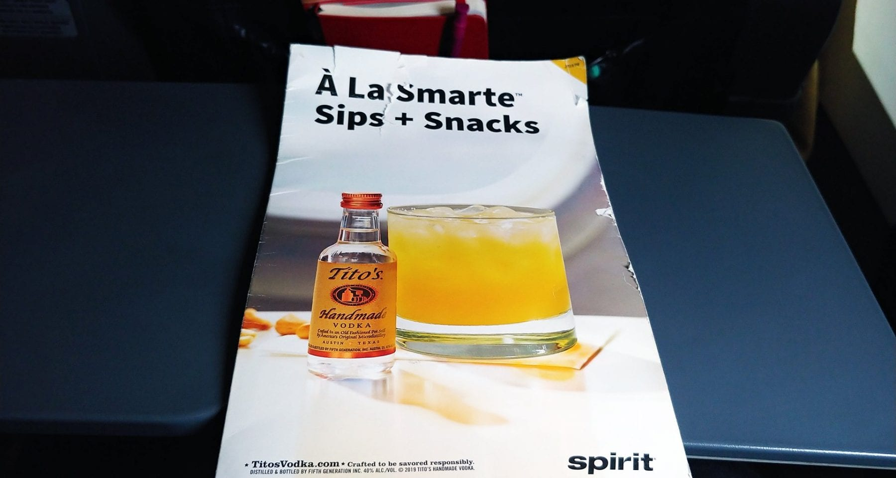 spirit airlines inflight menu