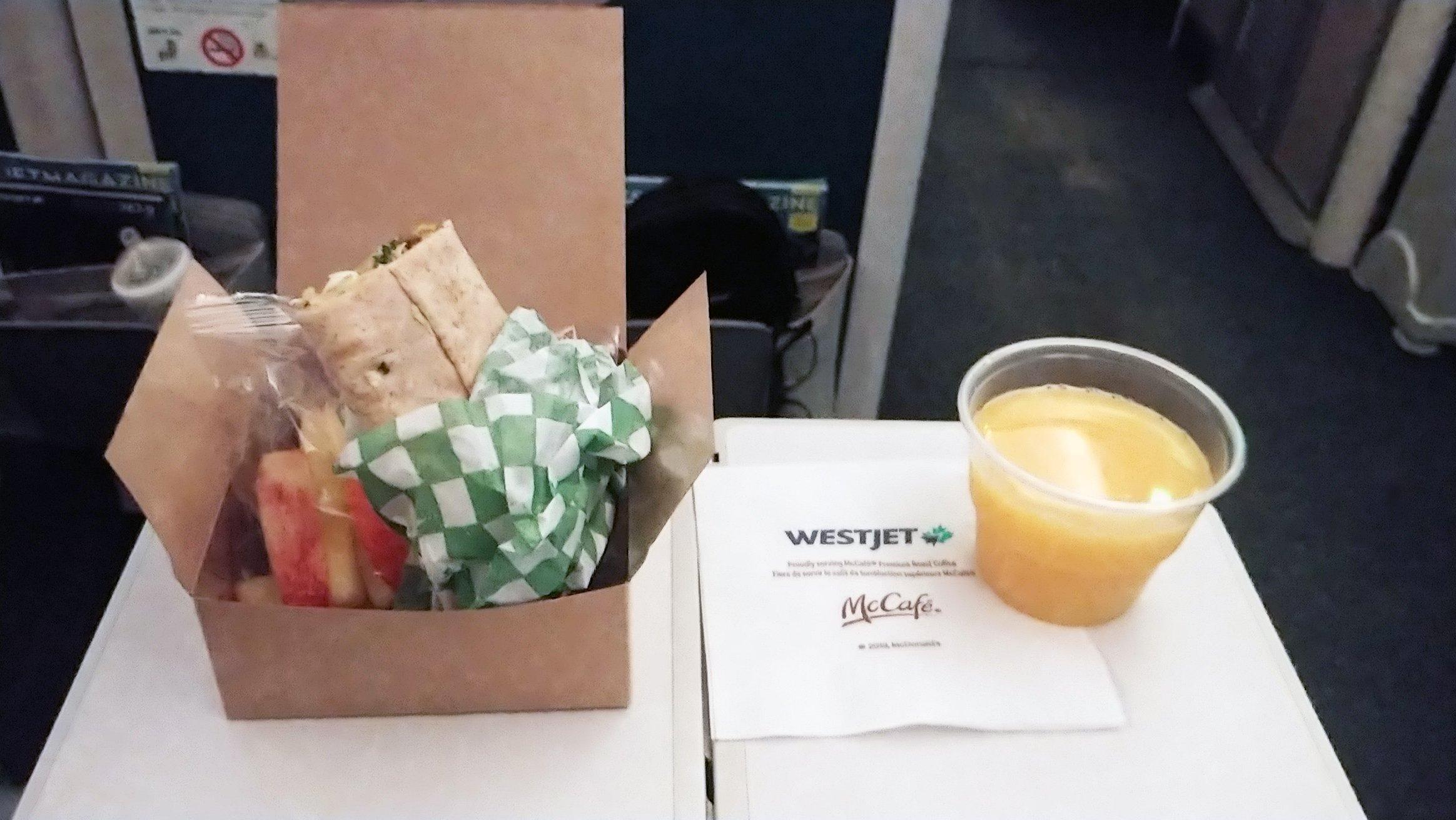 westjet economy class meal